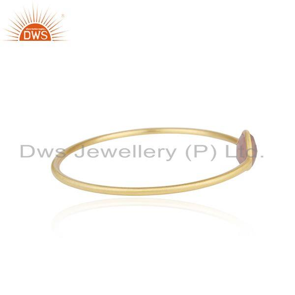 Wholesalers of Gold plated brass rose chalcedony gemstone bangle manufacturer