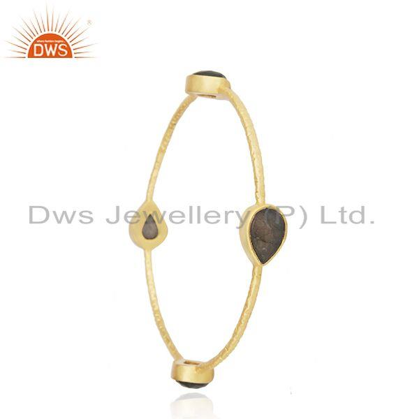 Wholesalers of Labradorite gemstone gold plated brass fashion bangle for womens