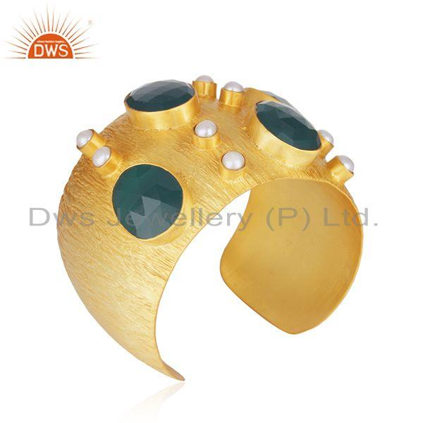 Suppliers Gold Plated Brass Fashion Pearl and Green Onyx Gemstone Cuff Bangle