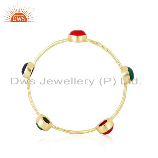 Wholesalers of Hydro and coral gemstone gold plated brass designer fashion bangles