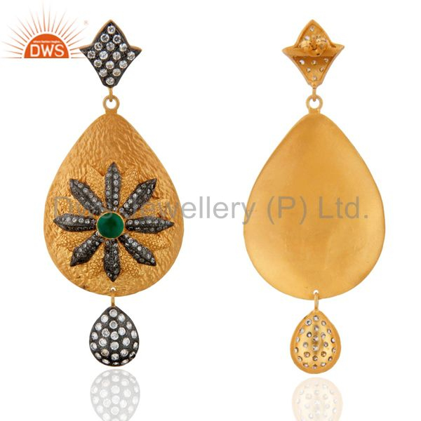 Suppliers 24K Yellow Gold Plated Green Onyx And White Zircon Antique Style Dangle Earrings