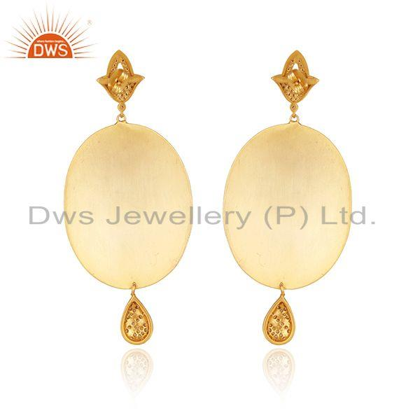 Suppliers 14K Gold Plated Green Onyx And CZ Antique Look Dangle Earrings
