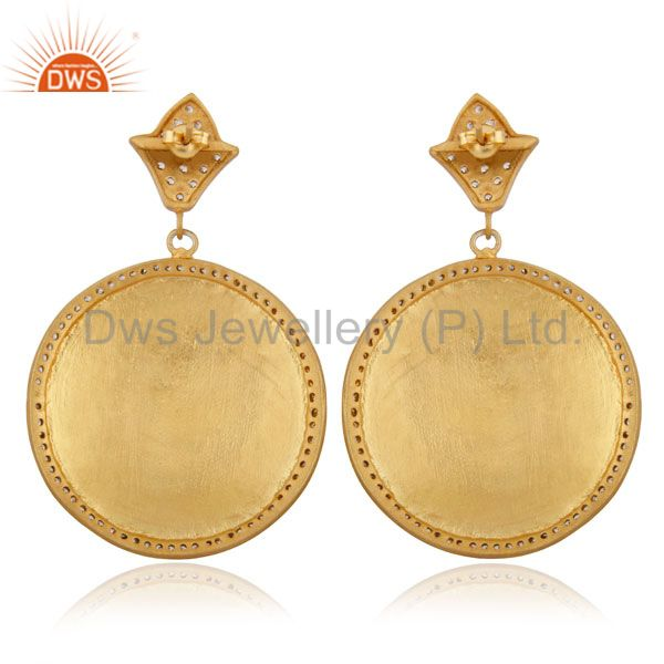 Suppliers Hand-made Circular Design 18k Yellow Gold Plated Textured Finish Zircon Earring