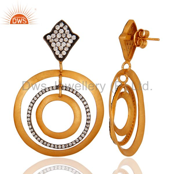 Suppliers 18k Gold Plated 925 Sterling Silver Matte Finish Textured White Zircon Earrings