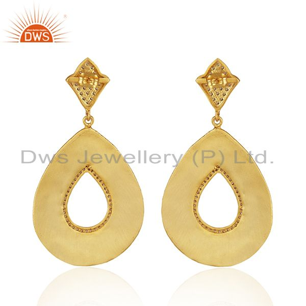 Suppliers 22K Yellow Gold Plated Cubic Zirconia Designer Fashion Drop Dangle Earrings