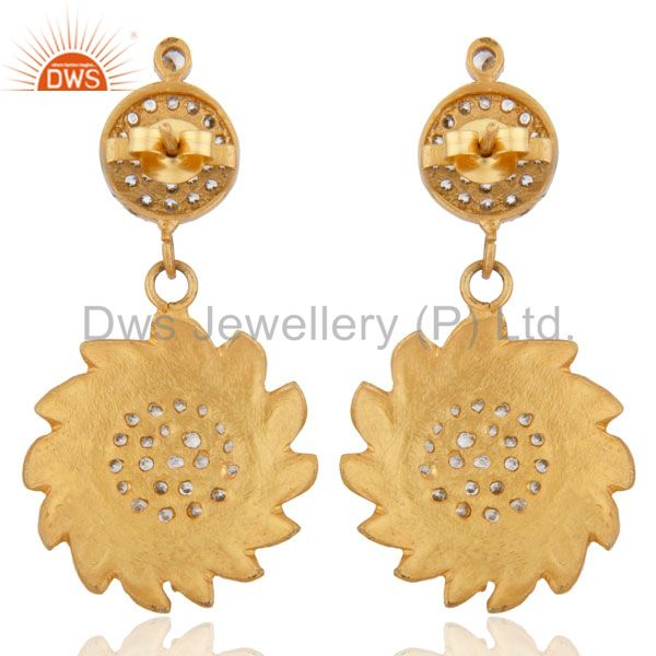Suppliers Gold Plated Sun Design Back Screw Dangle Earrings White Zircon Jewelry