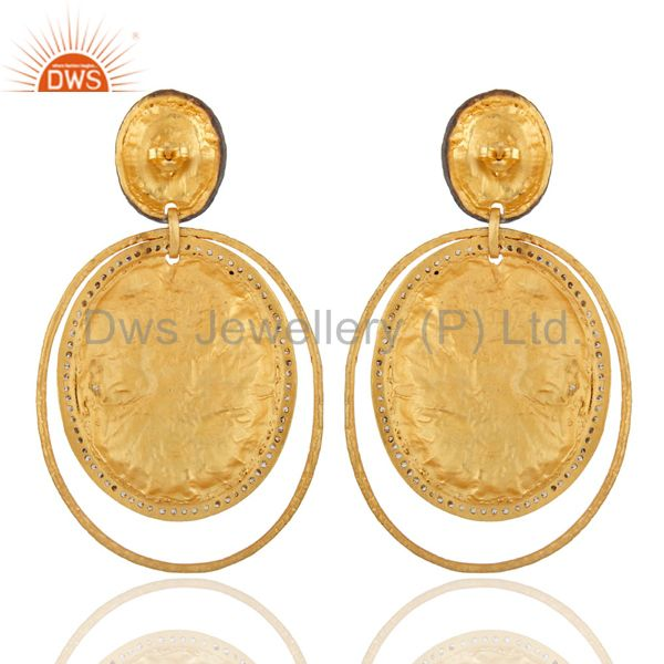 Suppliers Vintage Design Bridal 24K Gold Plated Crystal Polki Zircon Screw Back Earrings