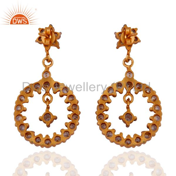 Suppliers Gold Plated Stunning White Cubic Zirconia Fashion Dangle Earrings