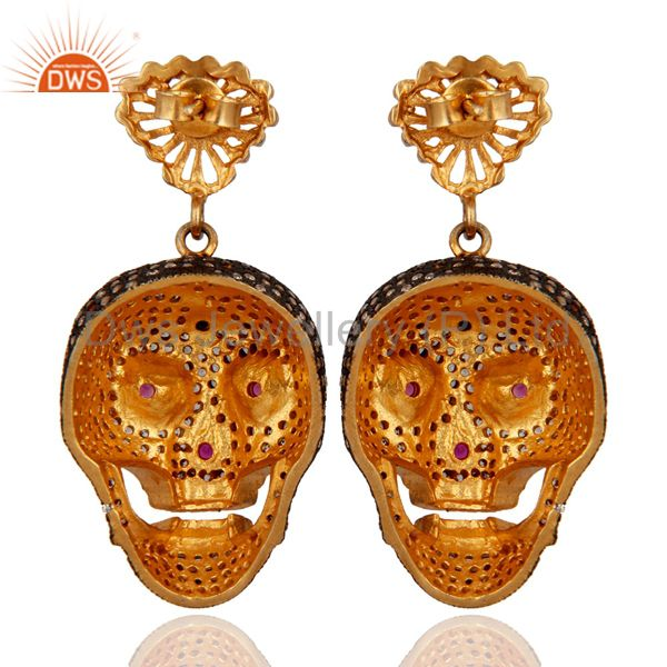 Suppliers 18k Yellow Gold Plated White Cubic Zirconia Womens Skull Designer Earrings