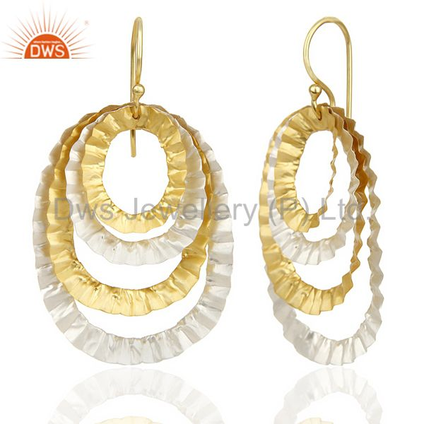 Suppliers 14K Gold Plated Traditional Handmade Textured Design Dangle Earrings