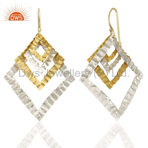 Suppliers Indian Hammerad Silver Plated 18k Gold Plated Filigree Design Earrings Jewelry