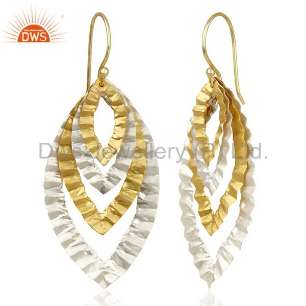 Suppliers 14K Gold Plated Silver Plated Traditional Handmade Textured Dangle Earrings