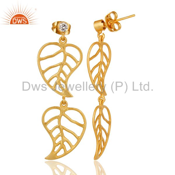 Suppliers 24k Yellow Gold Plated Cubic Zirconia Handmade Leaf Designer Dangle Earrings