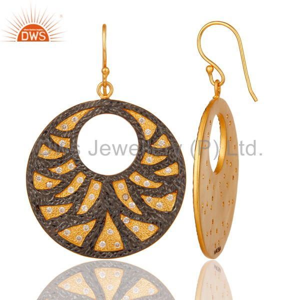 Suppliers 22K Yellow Gold Plated White Zirconia Disc Designer Fashion Dangle Earrings