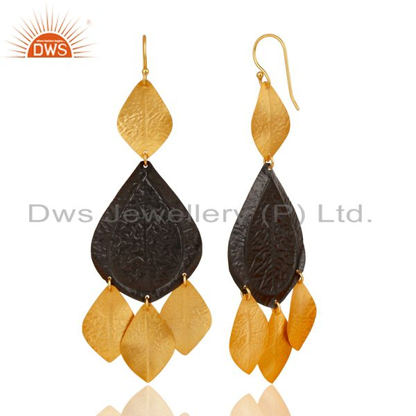 Suppliers Oxidized And 22K Yellow Gold Plated Brass Fashion Chandelier Earrings