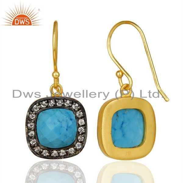 Suppliers Turquoise White Cz Studded Square Shape Gold Plated 92.5 Sterling Silver earring