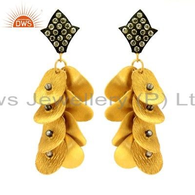 Suppliers 22K Yellow Gold Plated Brass Cubic Zirconia Designer Chandelier Earrings