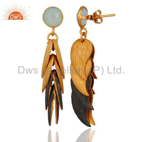 Designers Aqua Blue Chalcedony Glass Brushed Finish Gold Plated Designer Womens Earrings