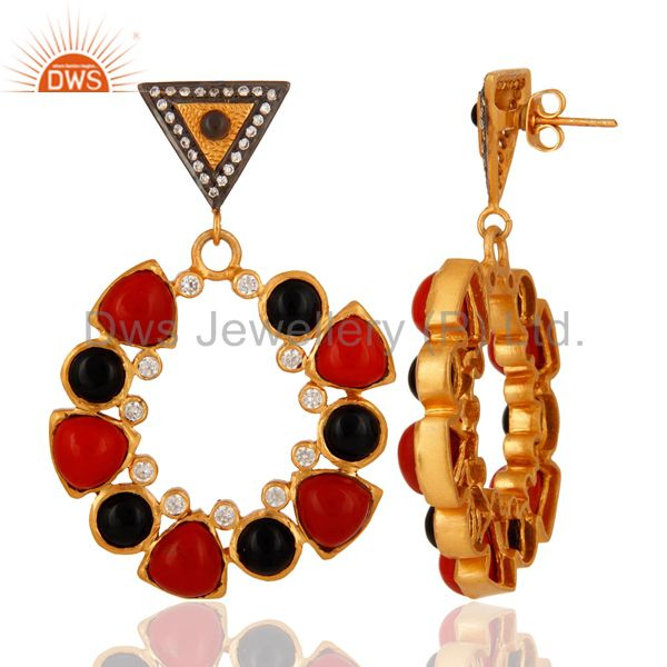 Suppliers Handmade Black Onyx Gemstone & CZ Designer Earrings with 18K Yellow Gold Plated