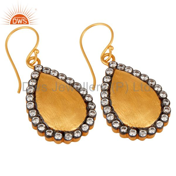 Suppliers Stunning White Color Round Cubic Zirconia CZ 24K Gold Plated Drop Dangle Earring
