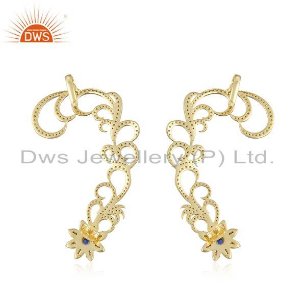 Suppliers 14K Yellow Gold Plated Blue Corundum And CZ Rhinestone Fashion Ear Cuff Earrings