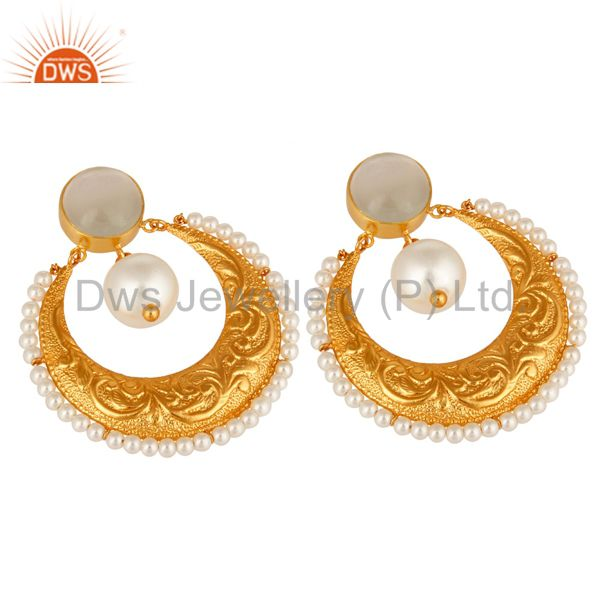 Suppliers Handmade White Moonstone, Pearl & CZ Indian Ethnic Earrings In 14K Gold On Brass