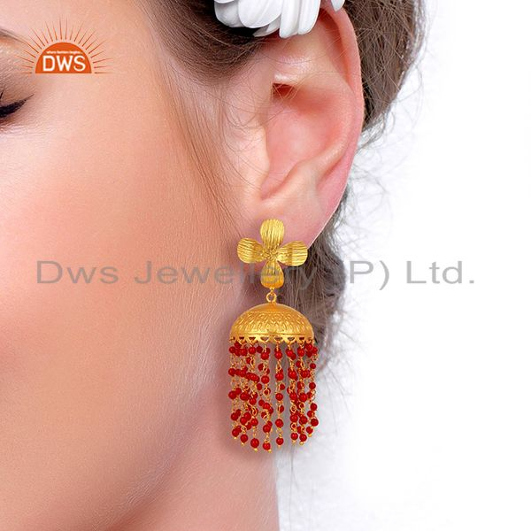 Suppliers 22K Yellow Gold Plated Brass Red Coral Beaded Chandelier Jhumka Earrings