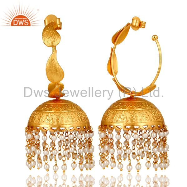 Suppliers 24K Yellow Gold Plated White Pearl Traditional Fashion Jhumka Earrings
