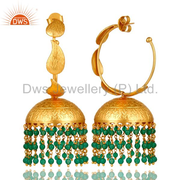Suppliers 24K Yellow Gold Plated Brass Green Onyx Traditional Fashion Jhumka Earrings