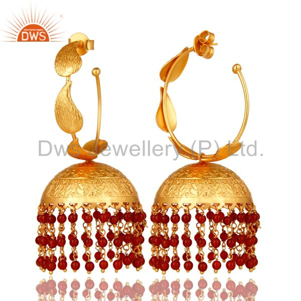 Suppliers 24K Yellow Gold Plated Red Onyx Indian Traditional Fashion Jhumka Earrings
