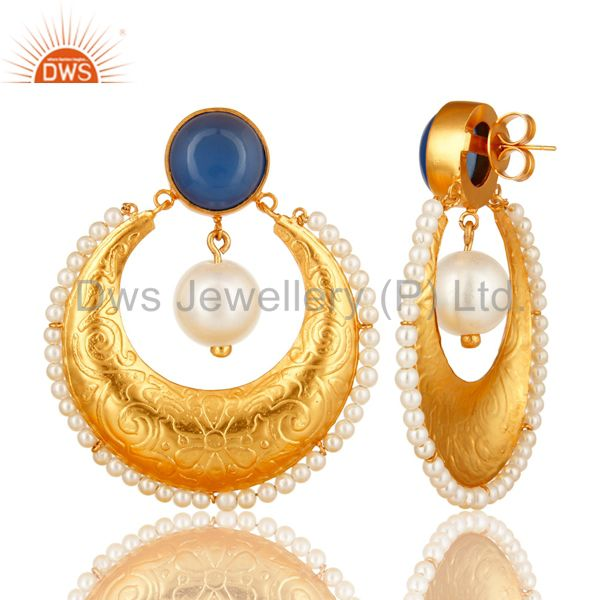 Suppliers Blue Chalcedony Gemstone And Pearl Ethnic Designer Earrings In 14K Gold On Brass
