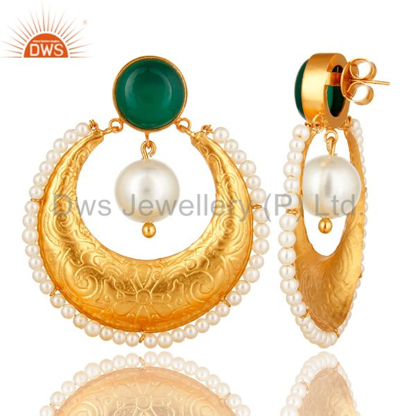 Suppliers Green Onyx Gemstone And Pearl Ethnic Designer Earrings Made In 14K Gold On Brass