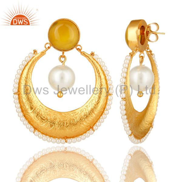 Suppliers Yellow Moonstone And Pearl Ethnic Fashion Earrings In 14K Gold Over Brass