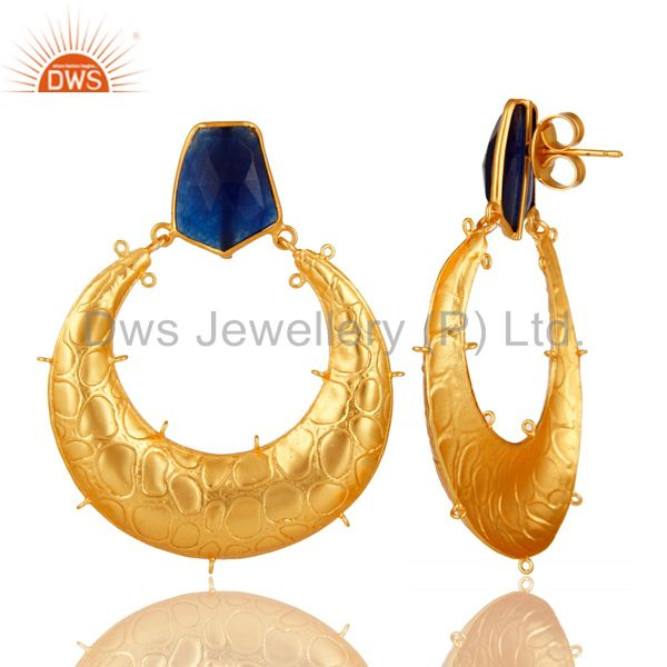Suppliers Handmade Blue Aventurine Gemstone Designer Finding Made In 18K Gold Over Brass