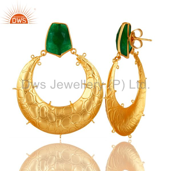 Suppliers Handmade Green Aventurine Gemstone Designer Finding Made In 18K Gold Over Brass