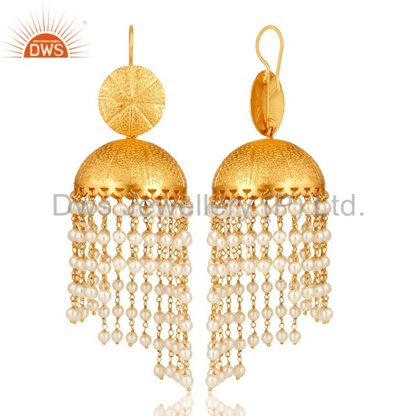 Suppliers 24K Yellow Gold Plated Brass White Pearl Indian Traditional Jhumka Earrings