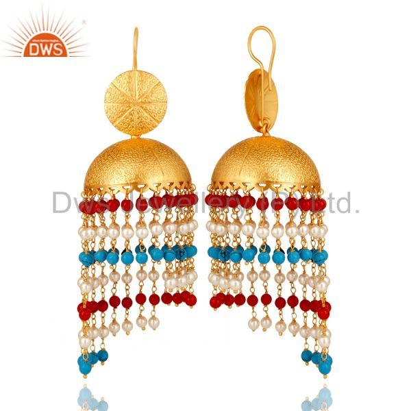 Suppliers 22K Yellow Gold Plated Brass Turquoise, Red Coral & Pearl Jhumka Dangle Earrings