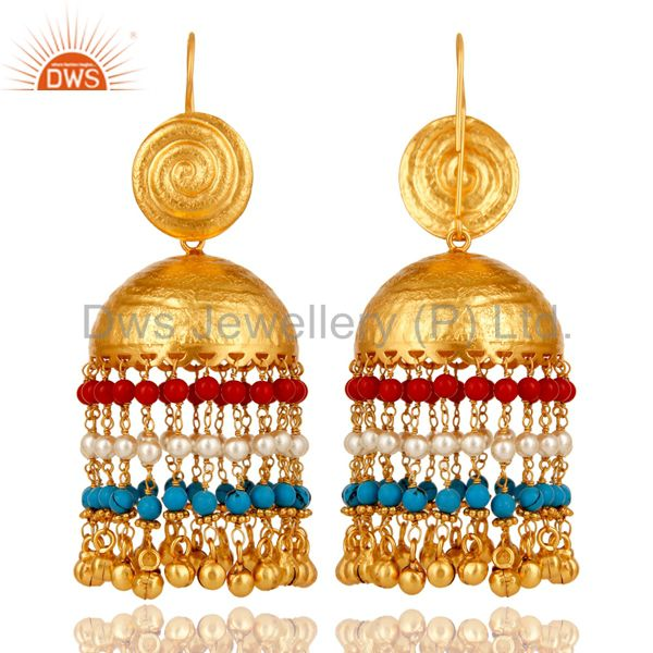 Suppliers 18K Gold Plated Matte Finish Traditional Pearl Coral Turquoise Jhumki Earring