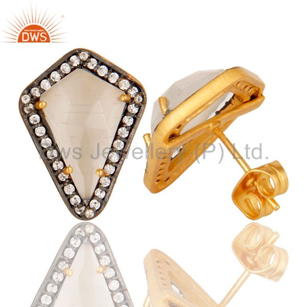 Suppliers White Moonstone and White Zircon 18K gold Plated Handmade Stud Boutique Jewelry