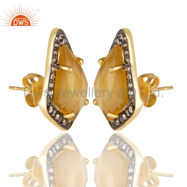Suppliers 14K Gold Plated Handmade Dyed Chalcedony & CZ Prong Set Studs Brass Earrings