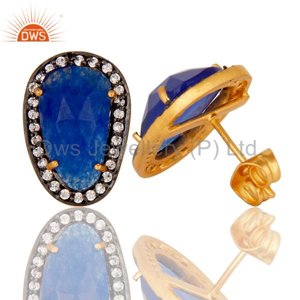 Suppliers Natural Blue Aventurine and White CZ Yellow Gold Plated Stud Boutique Jewelry