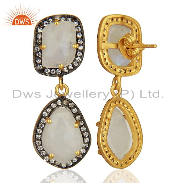 Suppliers Rainbow Moonstone and Cz Gemstone Brass Earrings Manufacturer