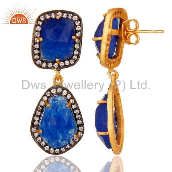 Suppliers Blue AVenturine and White Zircon 18K Gold Plated Drop Dangler Earring Stud
