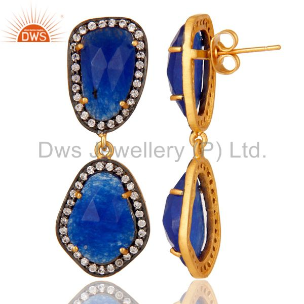 Suppliers Natural Blue Aventurine and White CZ 18K Gold Plated Drop Dangle Earring Stud