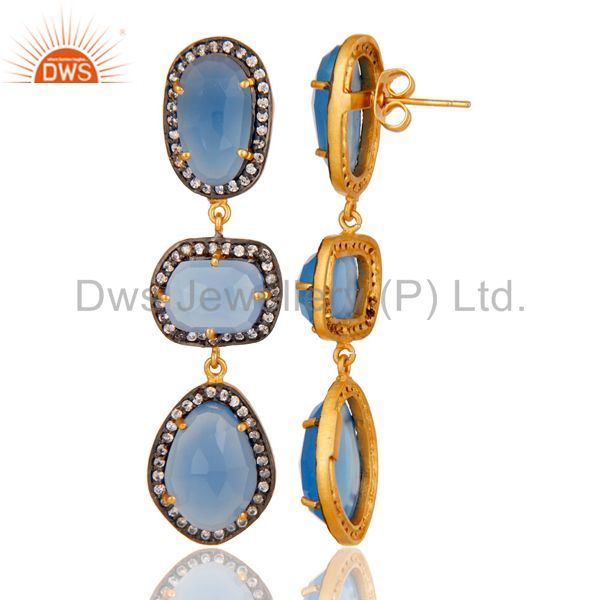 Suppliers Natural Chalcedony and White CZ 18K Gold Plated Drop Dangle Earring Stud
