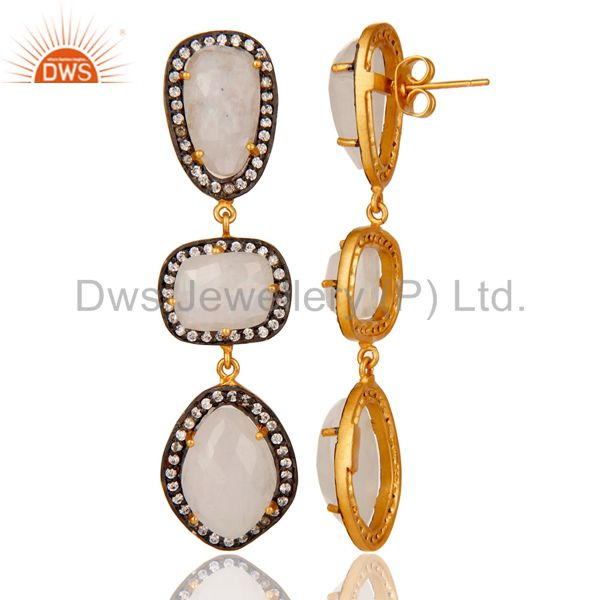 Suppliers Natural Moonstone and White CZ 18K Gold Plated Drop Dangle Earring Stud