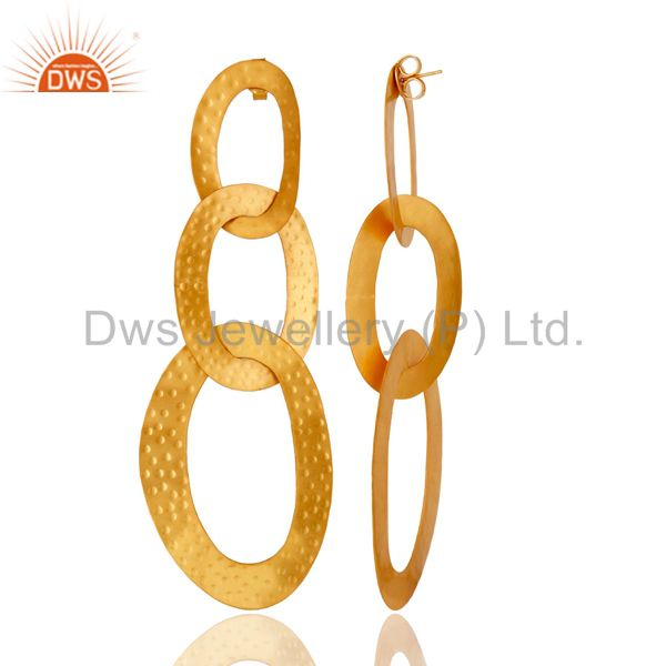 Suppliers 18k Gold Plated Traditional Chain Design Brass Dangle Earrings