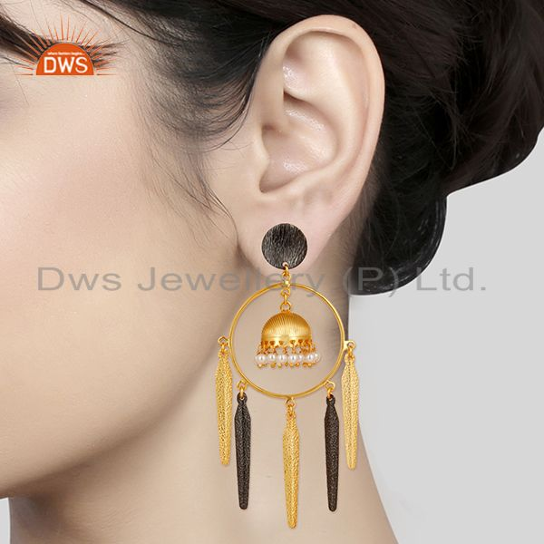 Suppliers 14K Yellow Gold Plated Traditional Handmade Pearl Beads Jhumka Brass Earrings