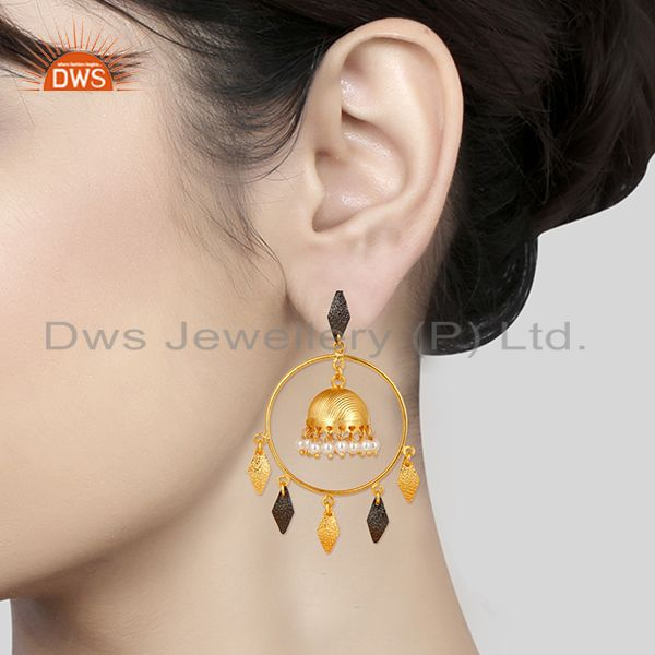 Suppliers 14K Yellow Gold Plated Traditional Handmade Round Pearl Beads Jhumka Earrings