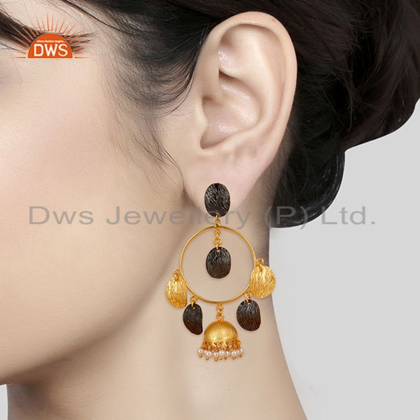 Suppliers 14K Gold Plated & Black Oxidized Traditional Pearl Beads Jhumka Brass Earrings